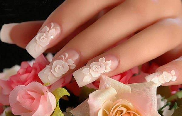 diseño de uñas para boda flores