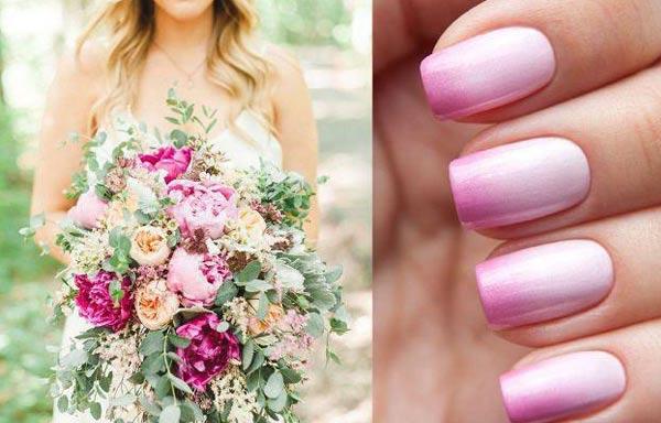 diseño de uñas para novias degrade rosa