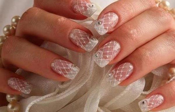 diseño de uñas para novias de gel