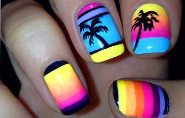 diseño de uñas para playa neon