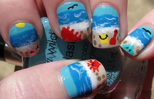 diseño de uñas para playa pintadas