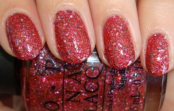 diseños de uñas con purpurina rojo teja
