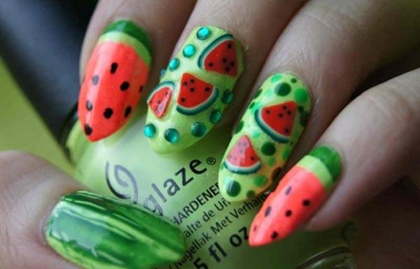 diseño de uñas de sandía 3d