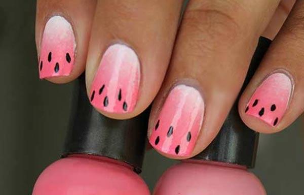 diseño de uñas de sandía basico