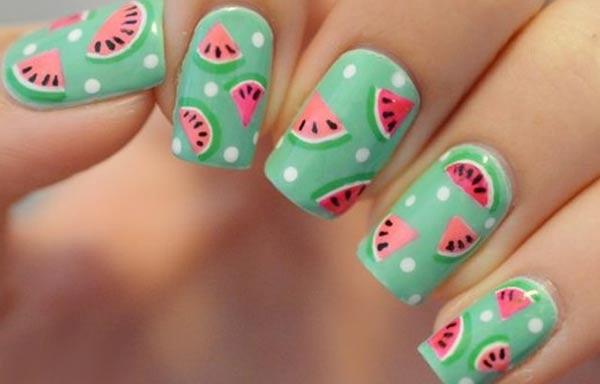 diseño de uñas de sandía verano