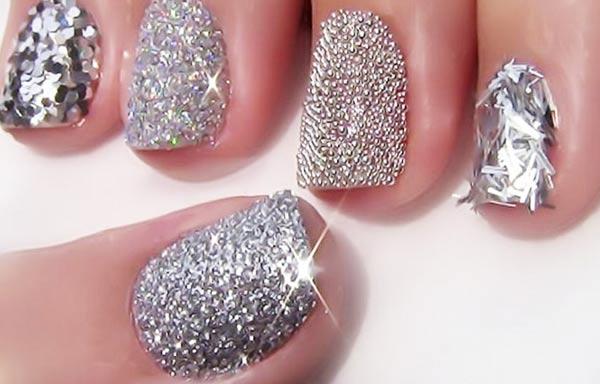 diseño uñas de señora plata