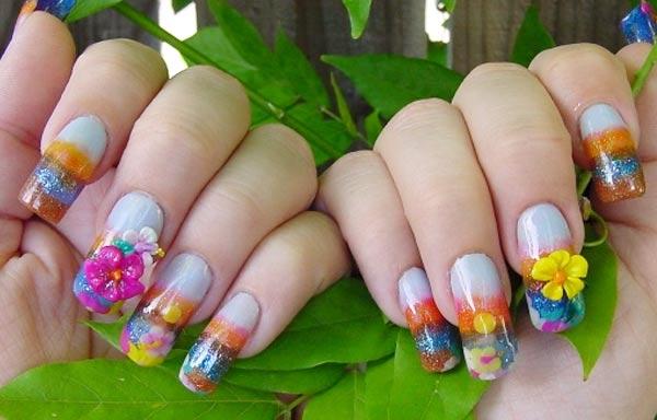 Diseño de uñas tropicales acrilicas