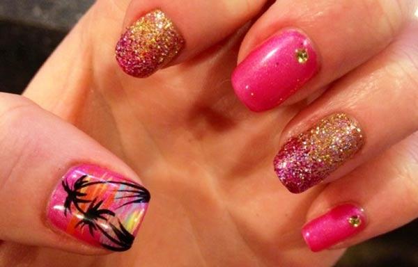 diseño de uñas tropicales color