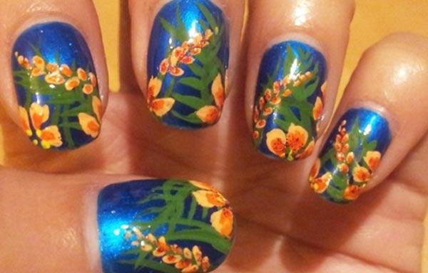 diseño de uñas tropicales noche