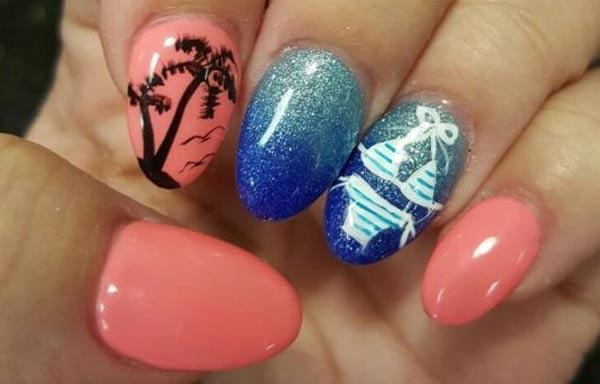Diseño de uñas tropicales playa