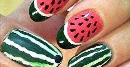 diseños de uñas de sandía