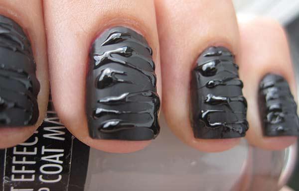 uñas decoradas color negro esmalte