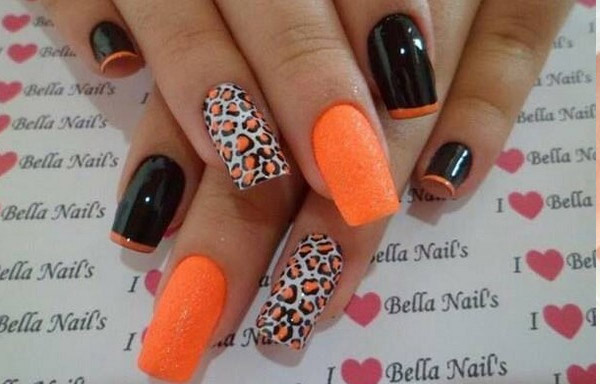 uñas acrilicas decoradas naranja