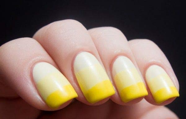 Uñas decoradas color amarillo degrade