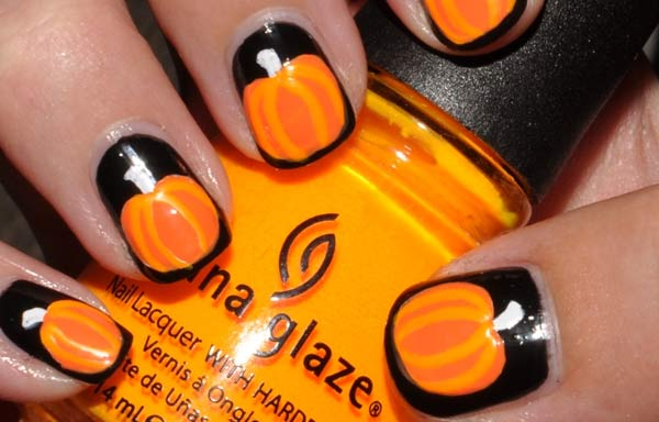 uñas decoradas color naranja calabaza