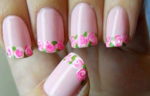 Uñas decoradas color pastel rosa
