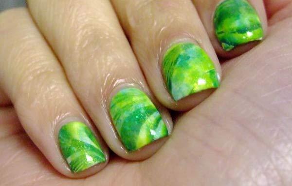 uñas decoradas color verde limón