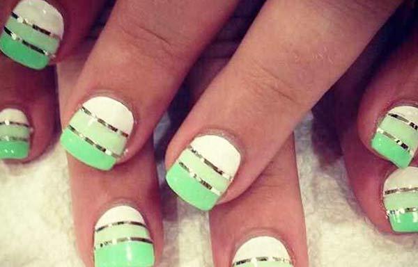 uñas decoradas color verde agua