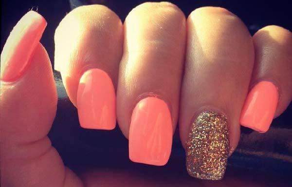 uñas decoradas colores neón naranja