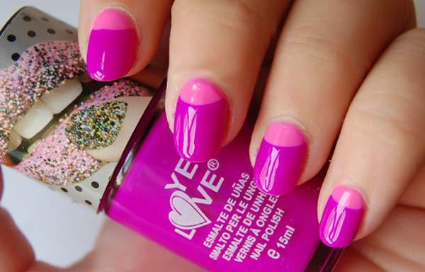 uñas decoradas colores neon rosa