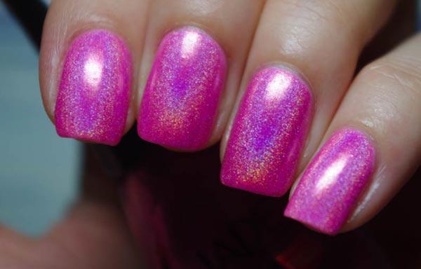uñas decoradas color bugambilia glitter