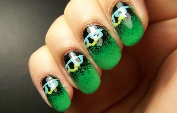 uñas decoradas color jade negro