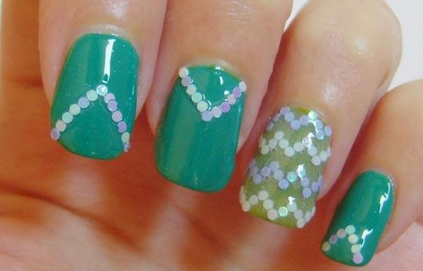uñas decoradas color jade acrilicas