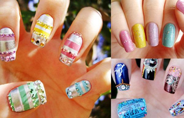 uñas de gel decoradas con stickers
