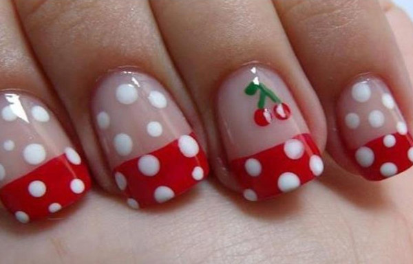 unas decoradas para niñas cerezas
