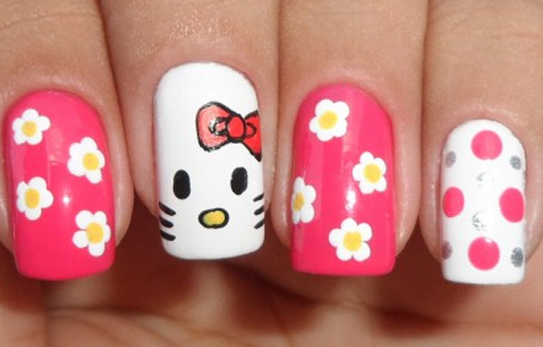 uñas decoradas hello kitty paso a paso