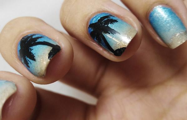 uñas decoradas palmeras