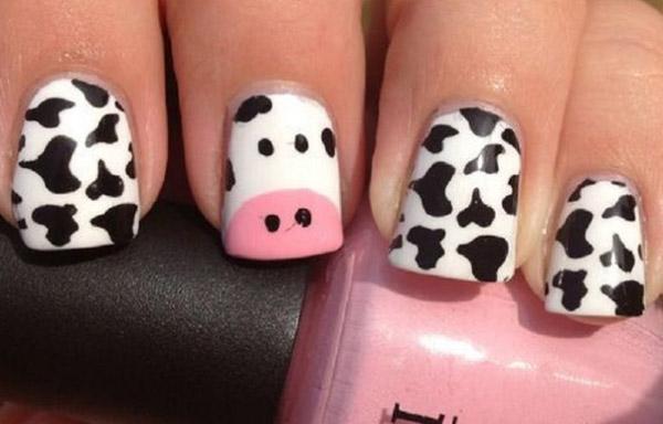 uñas decoradas de animales vacas