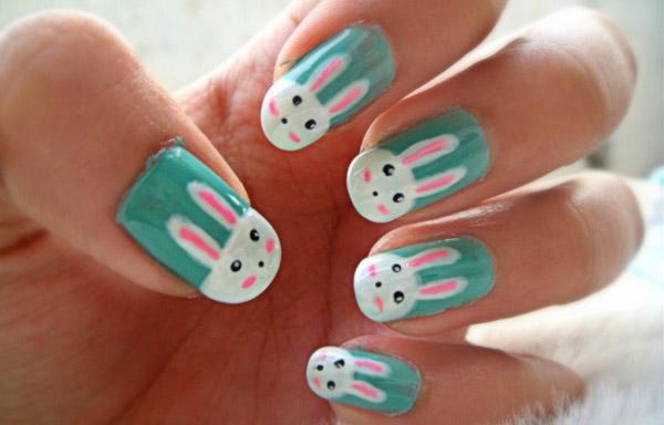 uñas decoradas con conejos