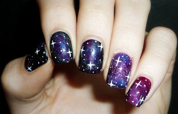 uñas decoradas galaxia tutorial